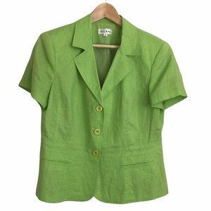 Vintage GILANI Lime Green Short Sleeve Blazer 100% Linen